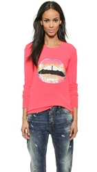 Markus Lupfer Hot Neon Lara Lip Sweater Neon Pink