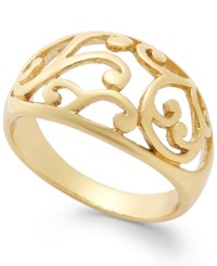 Giani Bernini Filigree Accent Ring In 24K Gold Over Sterling Silver