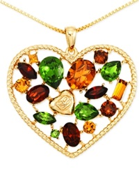 Sis By Simone I Smith Multi Color Heart Shaped Pendant Necklace In 18K Gold Over Sterling Silver