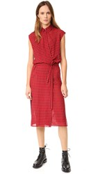 Alexander Wang Checkered Gauze Wrap Dress Cherry