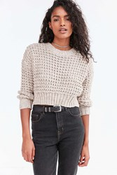 Ecote Isabella Open Stitch Crop Sweater Taupe