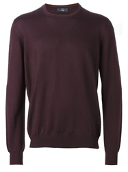 Fay Crew Neck Sweater Pink And Purple
