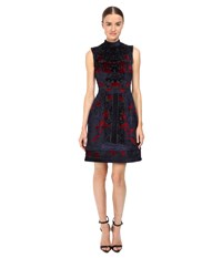 Yigal Azrouel Engineered Velvet Damask Burnout Dress Midnight Multi