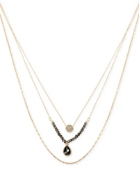 Kenneth Cole New York Gold Tone Beaded Crystal Layer Pendant Necklace