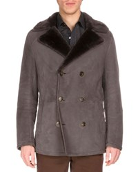 Berluti Double Breasted Suede Coat W Shearling Fur Collar Railroad
