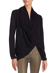 Alice Olivia Draped Wool And Cashmere Wrap Sweater Black