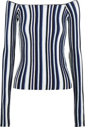Jacquemus Off The Shoulder Striped Ribbed Wool Sweater Navy