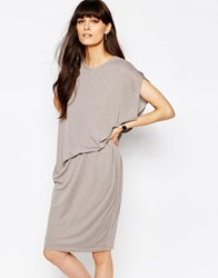 Paisie Jersey Dress With Asymmetric Side Tuck Grey