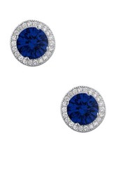 Micro Pave Simulated Diamond And Blue Sapphire Lab Grown Sapphire Round Earrings