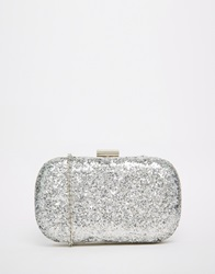 Liquorish Glitter Box Clutch Bag Silver