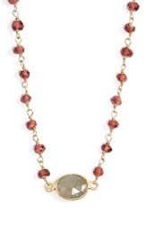 Women's Ela Rae Semiprecious Stone Collar Pendant Necklace Red Gold