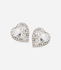 Christopher Kane Large Love Heart Clip On Earrings Metallic