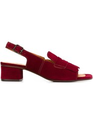 Chie Mihara Front Fringe Sandals Red