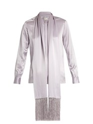 Hillier Bartley Fringed Scarf Satin Blouse Light Purple