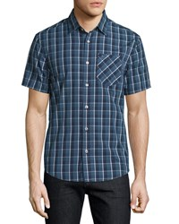 Penguin Short Sleeve Plaid Shirt Dark Denim