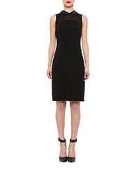 Alexia Admor Collared Faux Leather Trimmed Sheath Dress Black