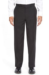 Men's Big And Tall Linea Naturale 'Tic Weave' Super 100S Wool Trousers Black