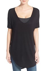 Women's Two By Vince Camuto High Low V Neck Tunic Top Rich Black