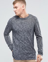 Jack And Jones Melange Slub Knitted Crew Neck Navy