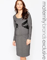 Mama Licious Mamalicious Long Sleeve Jersey Dress With Leather Look Panels Grey