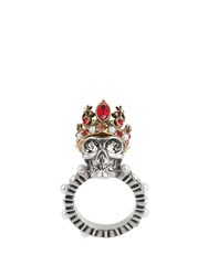 Alexander Mcqueen King Skull Crystal And Pearl Embellished Ring Silver
