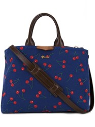 Muveil Cherry Print Tote Blue