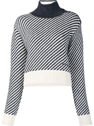 Derek Lam Striped Knit Cropped Jumper Black