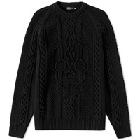 Alexander Mcqueen Engineered Aran Skull Crew Knit Black