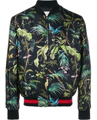 Gucci Tropical Print Silk Bomber Jacket Black Multi Coloured