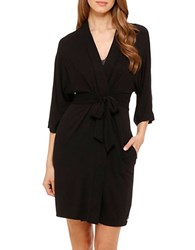 Dkny Urban Essentials Short Wrap Robe Black
