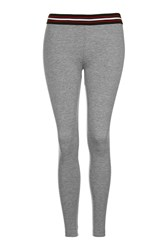 Topshop Petite Sporty Elastic Leggings Light Grey