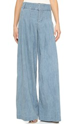 Alice Olivia Scarlet Darted Wide Leg Pants Chambray