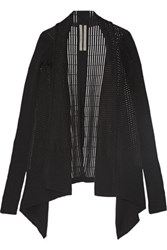 Rick Owens Ribbed Cotton Blend Cardigan Black