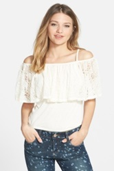 Frenchi Lace Overlay Camisole Juniors White