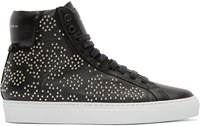 Givenchy Black Leather Studded High Top Sneakers