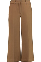 Theory Inza Cropped Stretch Twill Flared Pants Brown