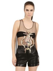 Antpitagora Sequined Angel Patches On Tulle Tank Top