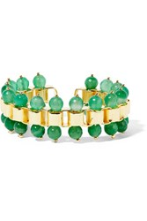 Rosantica Allodola Gold Tone Quartz Cuff Green