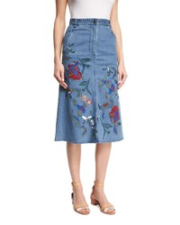 Tibi Marisol Embroidered Denim Midi Skirt Vinde