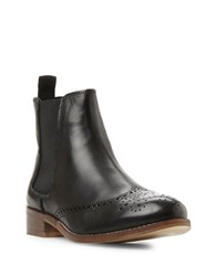 Dune Quentin Brogue Leather Chelsea Booties Black