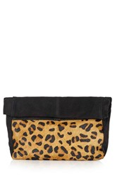Topshop Leopard Print Suede And Calf Hair Clutch