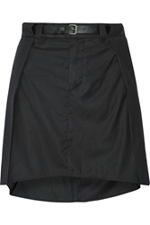 Mm6 Maison Margiela Belted Wool Blend Mini Skirt