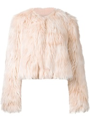 Red Valentino Faux Fur Cropped Jacket Pink And Purple