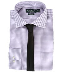 Lauren Ralph Lauren Twill Check Spread Collar Classic Button Down Shirt White Lilac Men's Long Sleeve Button Up Purple