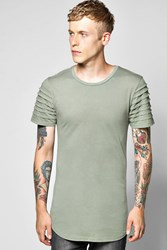 Boohoo Panel T Shirt With Scoop Hem Khaki