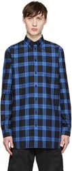 Givenchy Black And Blue Flannel Check Shirt