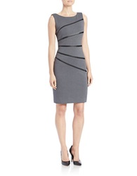 Ivanka Trump Leatherette Trimmed Sheath Dress Charcoal Black