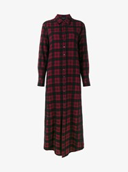Etro Long Checked Shirt With Lace Embroidery Red Black