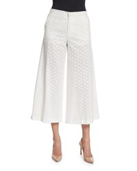 Red Valentino Wide Leg Cropped Cotton Lace Pants White Women's Size 46 8