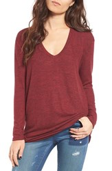 Women's Bp. V Neck Long Sleeve Sweater Red Cordovan